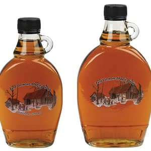 Vermont maple syrup in glass bottle with handle - D&D Sugarwoods Farm - Glover, Vermont