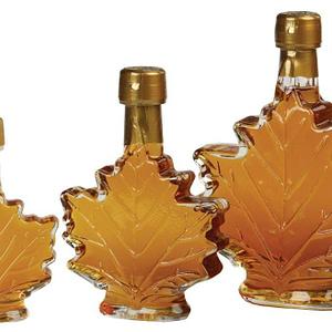Vermont Maple syrup maple leaf glass bottle - D&D Sugarwoods Farm - Glover, Vermont