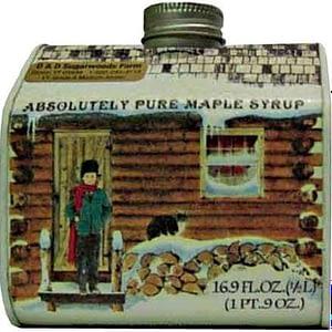 Vermont maple syrup log cabin tin - 16.9 oz - D&D Sugarwoods Farm - Glover VT
